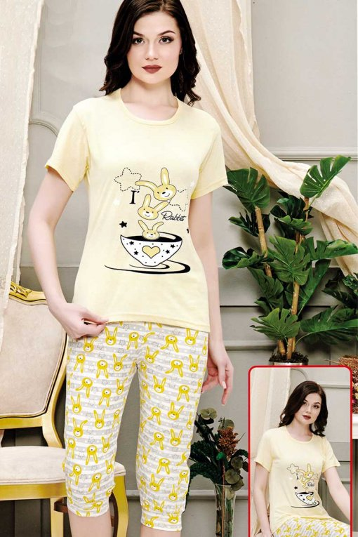 ženska pidžama  018 rabbit kapri baray